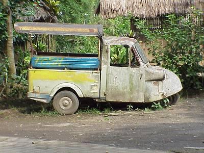 Di Bali 20 tahun yang lalu, saya naik Bemo Roda Tiga seperti ini